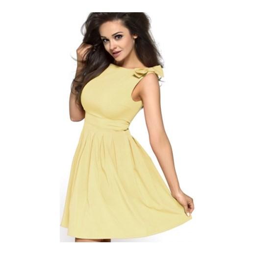 bda1dfeb30 Letnia żółta sukienka z kokardami Km112 na wesele kartes-moda zolty elastan