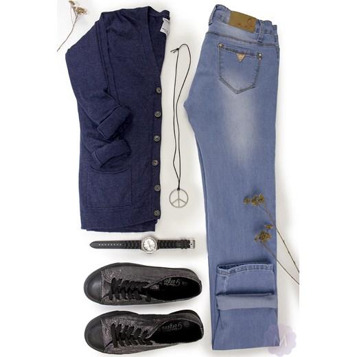 f569db6f Damskie spodnie rurki jeansowe jasno niebieskie z wyższym stanem  mercerie-pl niebieski