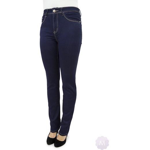 c0b22e12249a4b Spodnie jeansy damskie prosta nogawka z wyższym stanem granatowe mercerie-pl  czarny damskie ...