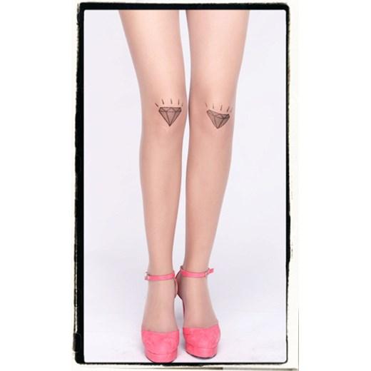 Rajstopy Cieliste We Wzory Imitujące Tatuaż Diamenciki Rockzone Pl