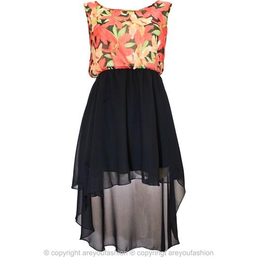 a04c341d54 Tropikalna sukienka z długim tyłem are-you-fashion romantyczny w Domodi