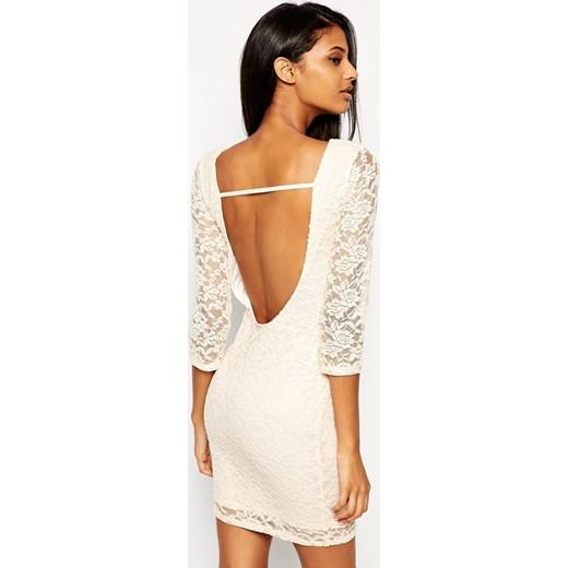 911db46e8e Asos Mini Koronkowa Sukienka z Wycięciem na Plecach aleja-mody bezowy  delikatne