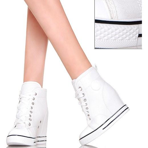 9fc962910 Sneakersy - Białe Trampki na Koturnie buu-pl bialy w Domodi