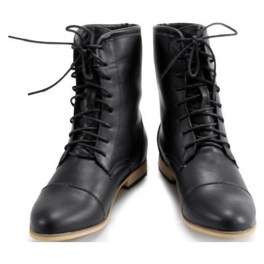 4733d426bcbae ... WORKERY Sznurowane BOTKI Styl Militarny Black merg-pl czarny klasyczny  ...