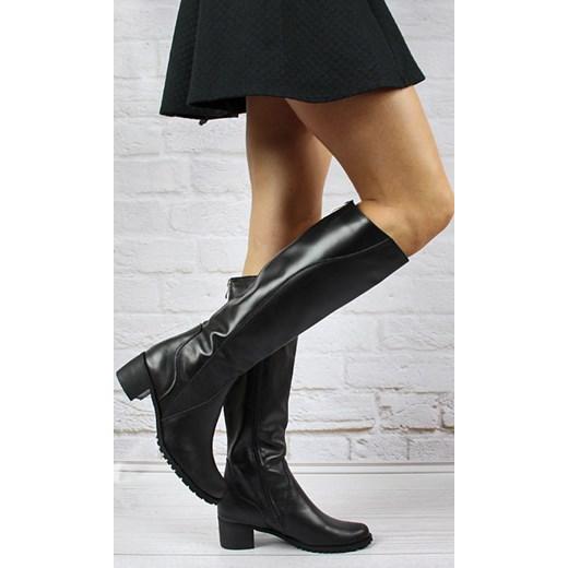1044bb7681ee ... MONIQUE 655 czarne skórzane kozaki damskie zimowe butyraj-pl czarny  modne