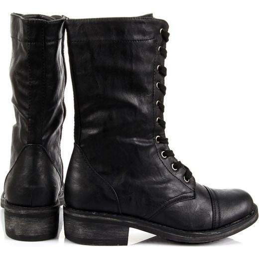 dff9fec9b221e ... K&M JG013 czarne botki damskie oficerki sznurowane i na suwak  butyraj-pl czarny Eko ...