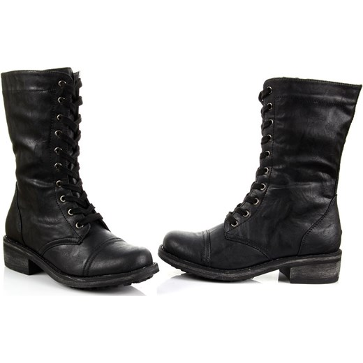 8480587da662d ... K&M JG013 czarne botki damskie oficerki sznurowane i na suwak  butyraj-pl czarny ekologiczne
