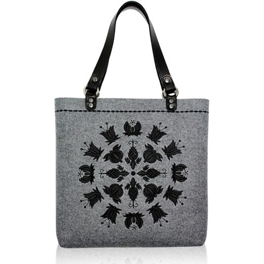 75baea4bae974 Goshico - folk torebka filc - kaszubskie kwiaty ludowe folkstar-pl bialy  abstrakcyjne wzory