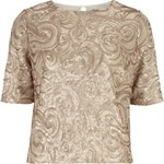 Gold Paisley Sequin Tee