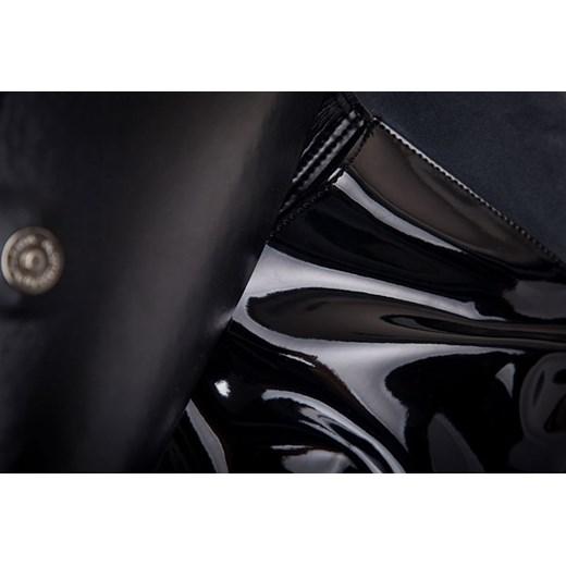 ae09577b27128 ... FELICE Grande M01 - zamszowa i lakierowana torebka damska z kieszenią  skorzana-com czarny elegancki ...