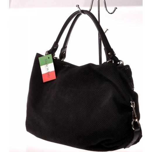00166f1a3a4ae ... MADE IN ITALY Spalla 123 czarna włoska torebka skórzana zamszowa  skorzana-com czarny torebka ...