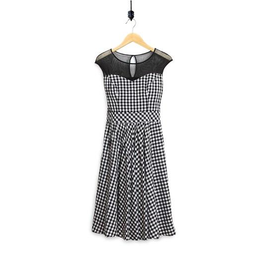 15dd5aafe5 Sukienka w czarno-białą kratkę bialcon-pl szary długie w Domodi