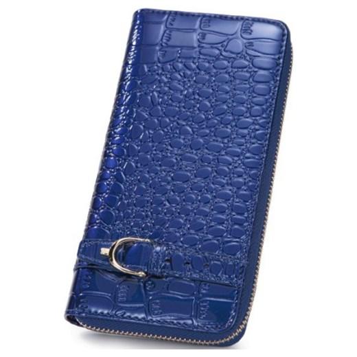 583ae26380e75 Krokodyli portfel zasuwany Niebieski pandzior-pl-new-vogue niebieski  damskie ...