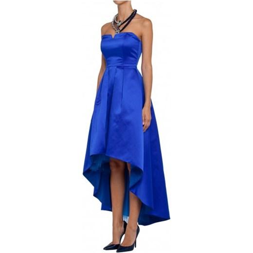 68f806369f Sukienka gorsetowa satynowa królewski błękit mostrami fioletowy w Domodi