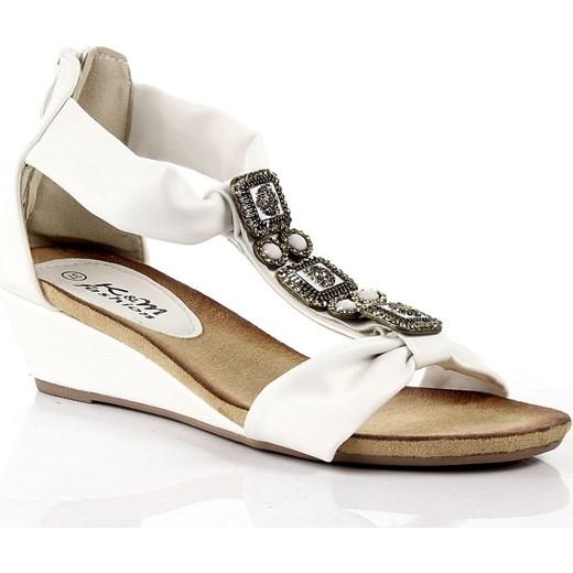 88186c0a61db2 K&M JK050 białe sandały damskie rzymianki na koturnie butyraj-pl brazowy na  koturnie ...
