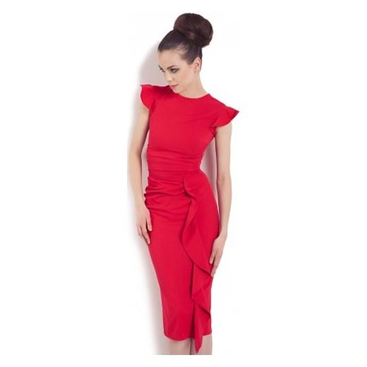 18852373a9 Wizytowa sukienka na wesele KM66-1 kartes-moda czerwony drapowana w ...