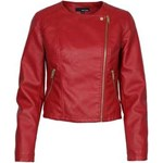 Red Leather Biker Jacket with Diagonal Zip