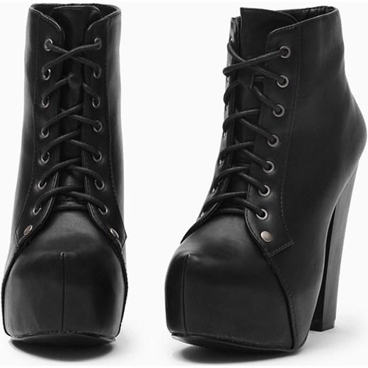czarne botki na platformie i obcasie