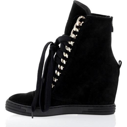 6540a8b3 Sneakers skóra czarne łańcuch booci-pl czarny na koturnie w Domodi