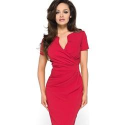 ce096b212c Rozkloszowana sukienka w kropki  Elegancka czerwona sukienka MODEL-KR-1453  KR-1453 ...