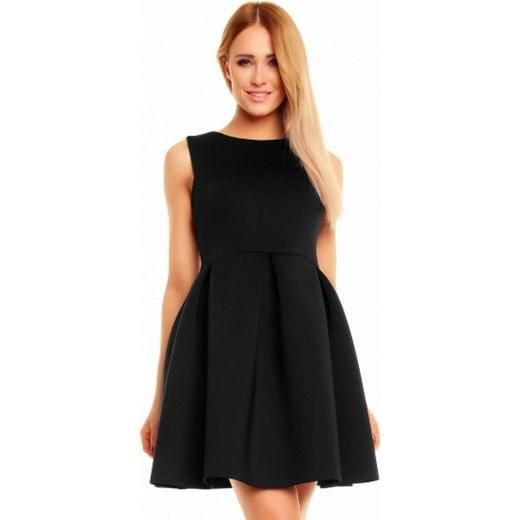 c1d8e76397 Rozkloszowana sukienka bez rękawów czarna KM140 kartes-moda czarny dzianina  ...