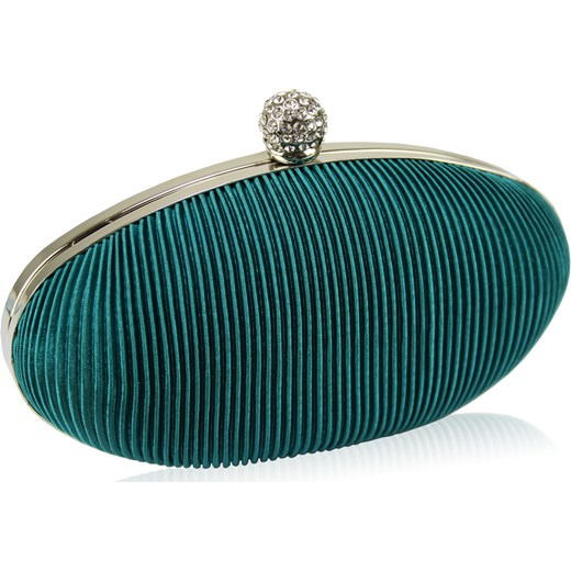 a7338c70630fe Torebka wizytowa - turkusowa szkatułka obszyta plisowanym materiałem  amiche-pl elegancki