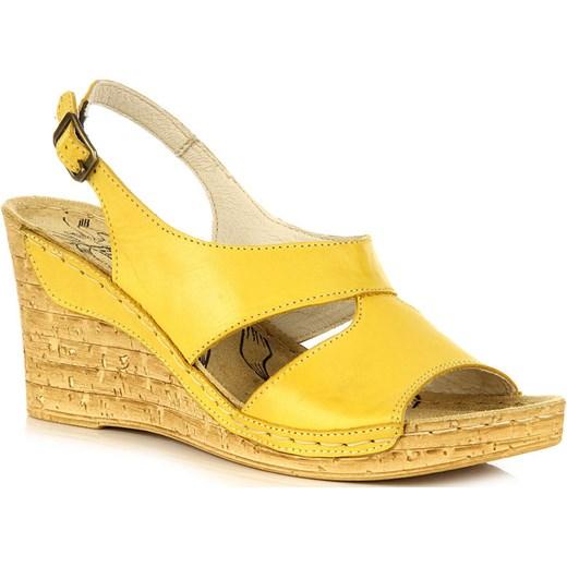 d576610b0d815 ŁUKBUT 556 skórzane żółte sandały damskie lekkie komfortowe na koturnie  butyraj-pl zolty lato ...