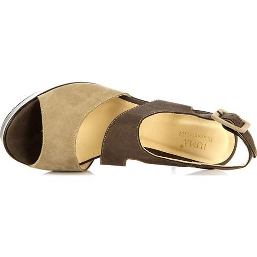 f472da334ff0a ... JUMA 2293 skórzane brązowe sandały damskie na koturnie butyraj-pl  brazowy Sandały skórzane ...