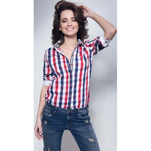 2ddc0221171b0f Koszula w kratę rubinfashion-pl fioletowy Koszule damskie w Domodi
