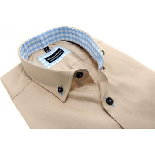cfffd6c349636d Beżowa koszula męska z łatami na łokciach thomas-waxx bezowy w Domodi
