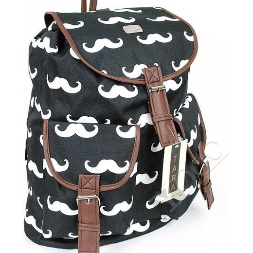 112e9a2c9d2a7 Polski Plecak Vintage TARA Plecaki Mustache Wąsy yoco-pl szary abstrakcyjne  wzory ...