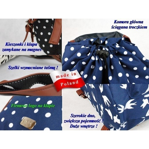 b90ea0451280c ... Polski Plecak Szkolny Vintage TARA Plecaki oczy yoco-pl granatowy  abstrakcyjne wzory