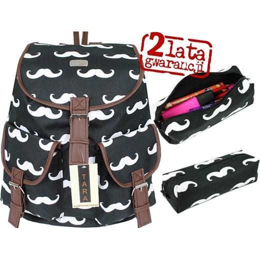 f17edc64aed99 TARA Plecak+Piórnik Vintage Zestaw Wąsy Mustache yoco-pl szary abstrakcyjne  wzory ...