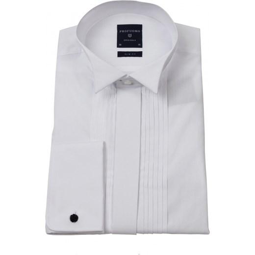 76db376f Biała klasyczna koszula męska smokingowa z plisami (SLIM FIT), mankiety na  spinki eleganckipan-com-pl szary elegancki