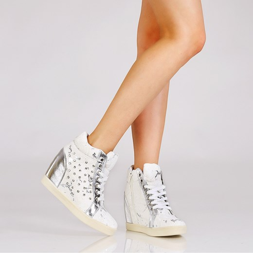 4b71ca3f Wężowe białe sneakersy - cyrkonie stukstuk-pl pomaranczowy na koturnie