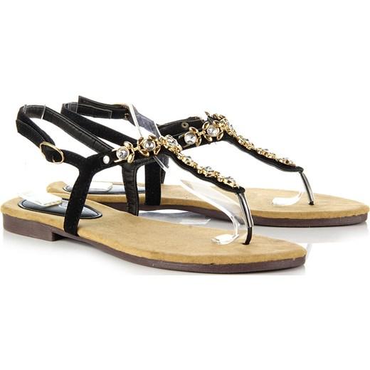 480325d8 K&M LW623 czarne sandały damskie japonki z cyrkoniami butyraj-pl bialy lato  w Domodi