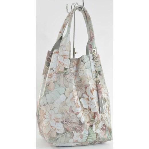 5919548385128 Skórzana torebka worek ze wzorem w kwiaty cervandone-pl szary lakierowane  ...