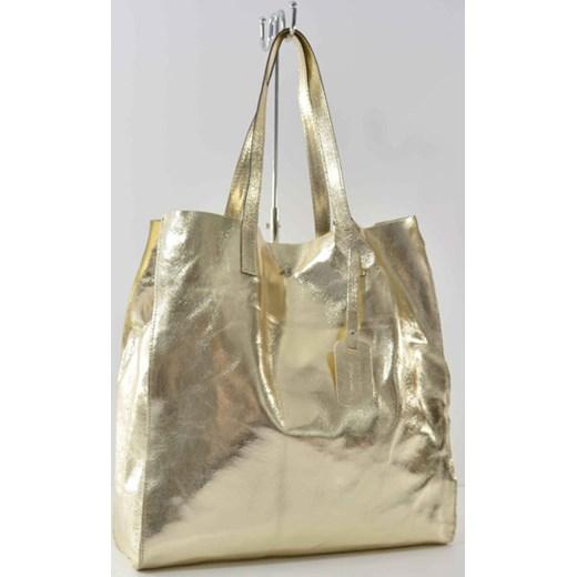 b8c5067d60fa6 Skórzana pojemna złota torebka cervandone-pl szary łatki w Domodi