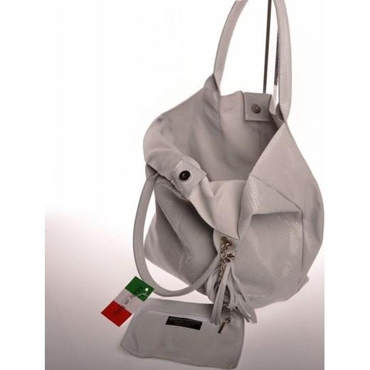 200e86af0abc9 ... MADE IN ITALY Cucito 012 jasnoszara włoska torebka skórzana worek  skorzana-com brazowy casual