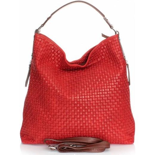 fdd7ff685de70 Włoska Torebka Skórzana Uniwersalny Shopperbag Czerwona torbs-pl czerwony