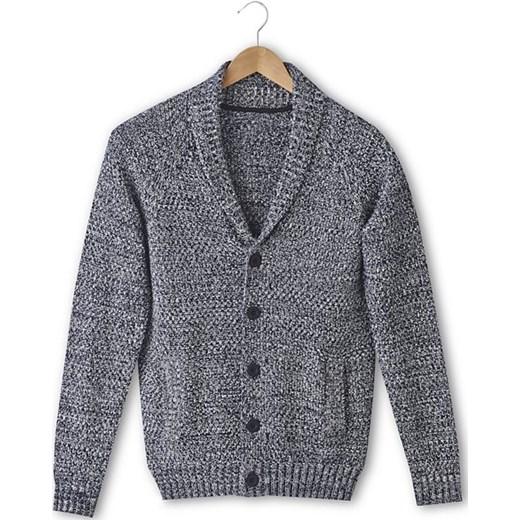 46865624719f Rozpinany sweter z szalowym kołnierzem la-redoute-pl szary Swetry męskie  rozpinane