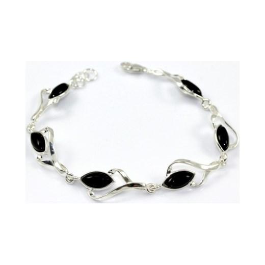 Najnowsze Piękna bransoletka srebrna z onyksem 20 cm jubiler-balais bialy KB04