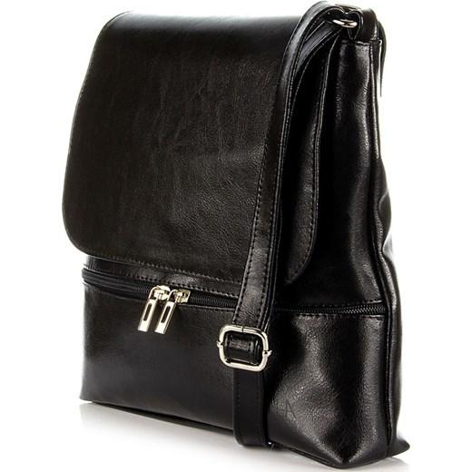 cbe7e16a36356 ... DAN-A T289 czarna torebka damska listonoszka ze skóry naturalnej  skorzana-com czarny elegancki ...