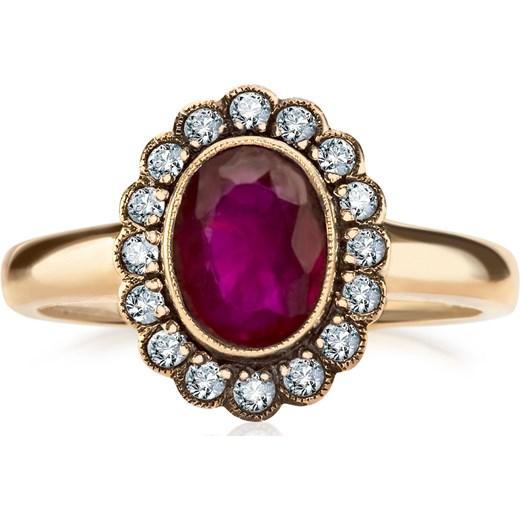 4577431433ae81 Kolekcja Wiktoriańska - pierścionek z brylantami i rubinem yes rubin w  Domodi