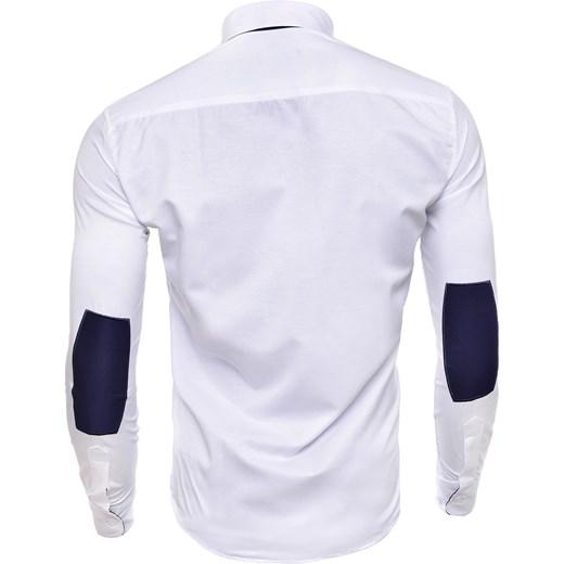 44804c8e643983 ... KOSZULA (RL04) - BIAŁY risardi fioletowy Koszule z długim rękawem męskie