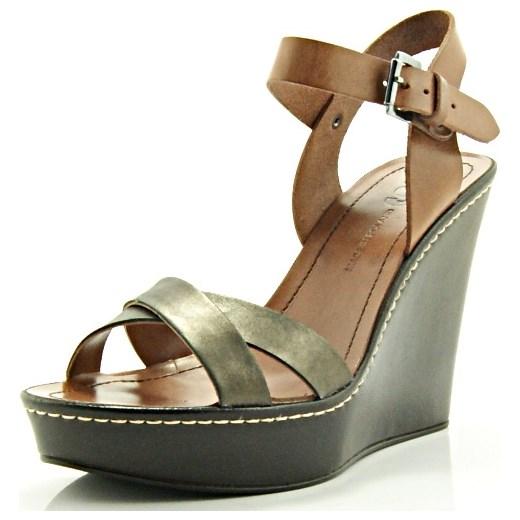 efcdd72a45e72 ... BUT-S Z305 BRĄZ - Efektowne sandały na koturnie ze skóry WYPRZEDAŻ sklep-obuwniczy  ...