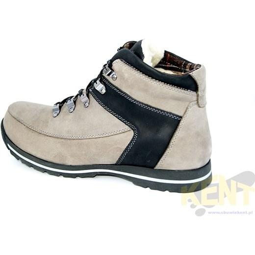 KENT 350 SZARO CZARNE Zimowe buty skórzane w stylu Timberland sklep obuwniczy kent bezowy naturalne