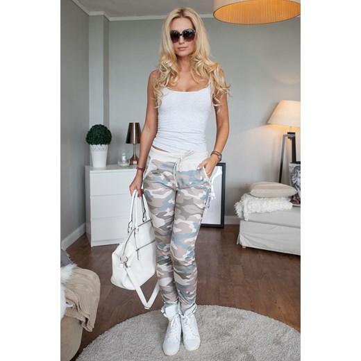 4de870b30274 Spodnie sportowe moro ze ściągaczami cappuccino fasardi-com szary militarny  ...