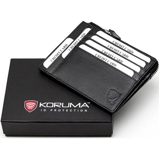 1cf84946ad7d1 Mały skórzany portfel na karty zamykany na zamek - RFID STOP od KORUMA  koruma-id ...
