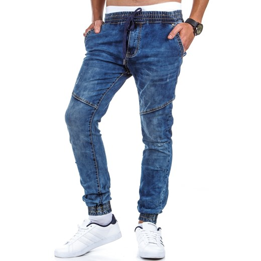 59b2ec1e80e208 Spodnie męskie joggery jeansowe (ux0352) dstreet niebieski bawełna w Domodi